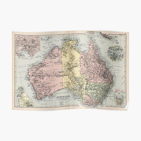 Vintage Map of Australia (1891) Poster