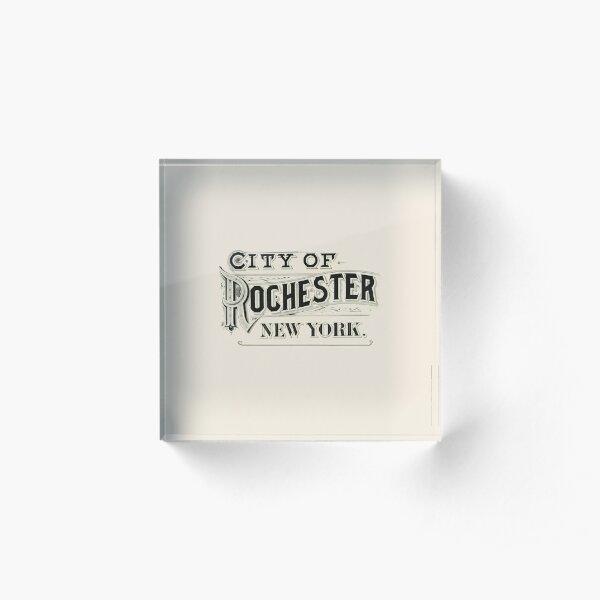 City of Rochester, New York (Atlas Typography) Acrylic Block