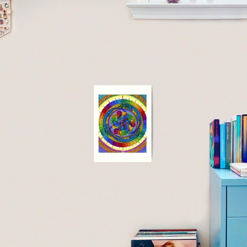 Psychedelic Dragons Rainbow Mandala Art Print