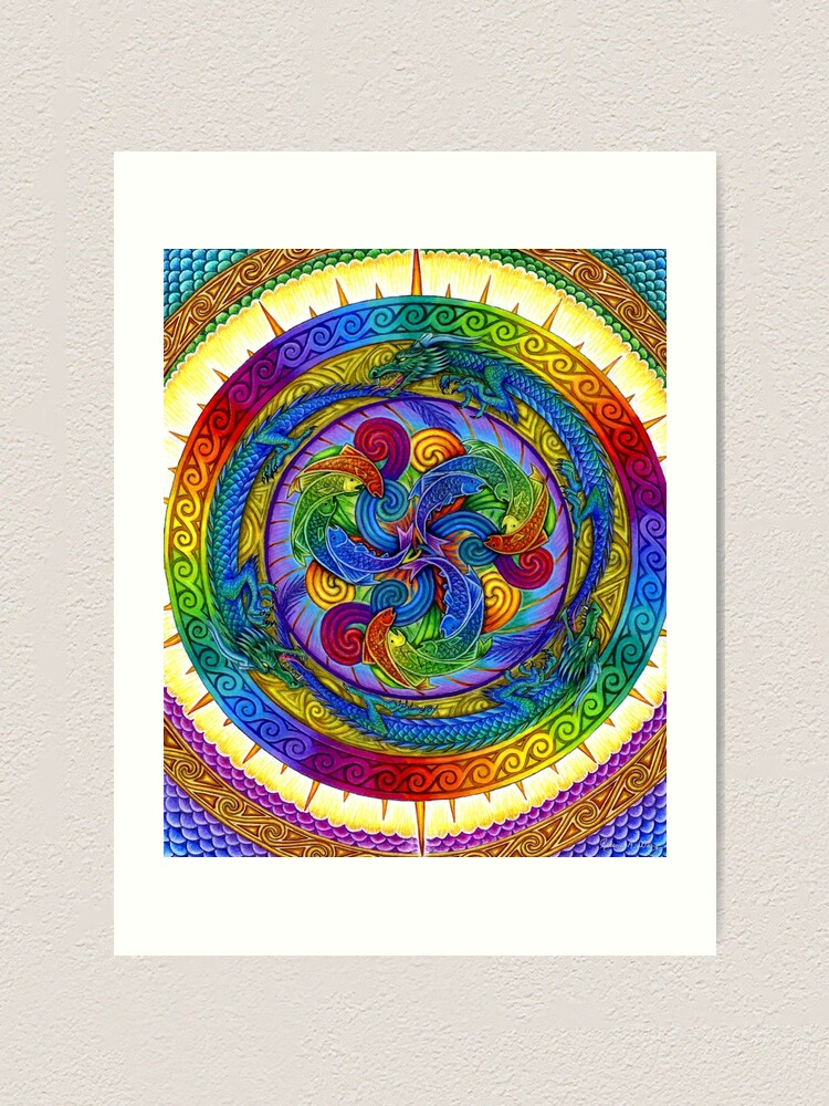 Alternate view of Psychedelic Dragons Rainbow Mandala Art Print