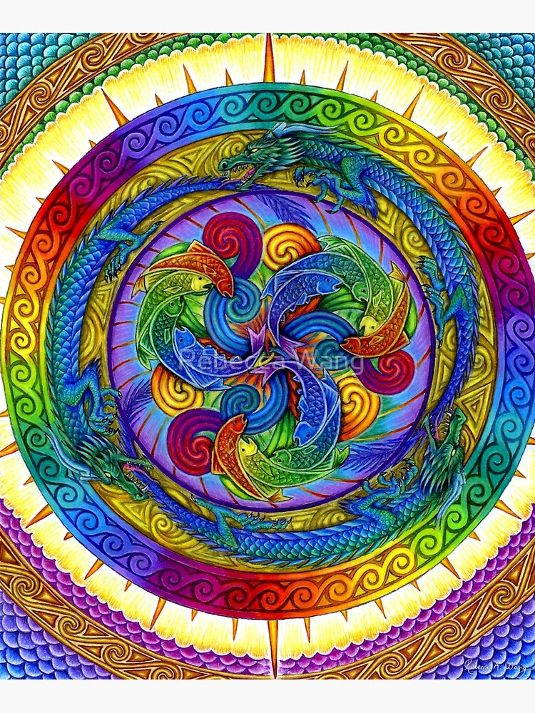 Psychedelic Dragons Rainbow Mandala by lioncrusher