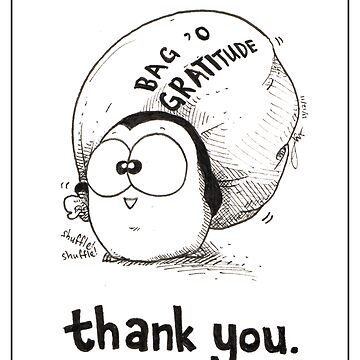 Bag 'O Gratitude - Thank You Card by afatpenguinshop