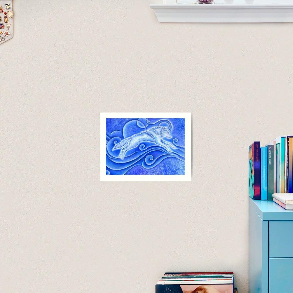 Distant Star White Wolf Spirit Art Print