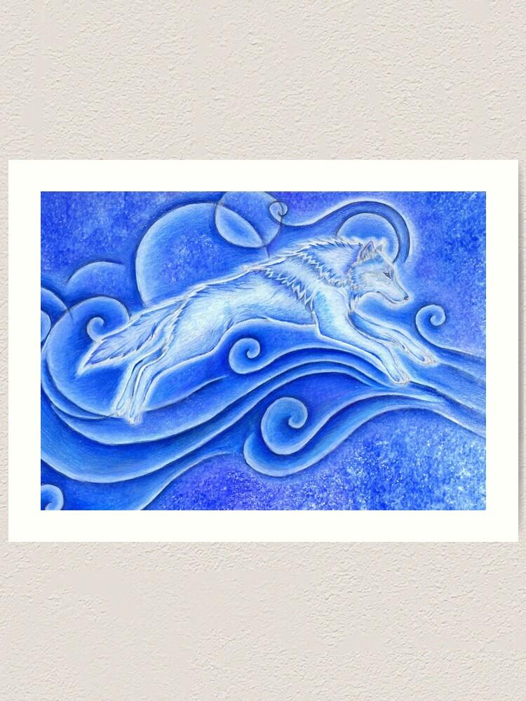 Alternate view of Distant Star White Wolf Spirit Art Print