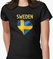 Sweden - Swedish Flag Heart & Text - Metallic T-Shirt