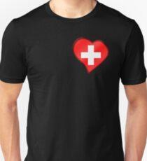 Swiss Flag - Switzerland - Heart Unisex T-Shirt