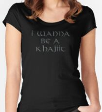 Khajiit Text Only Women's Fitted Scoop T-Shirt