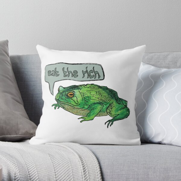 Eat the Rich Toad Throw Pillow