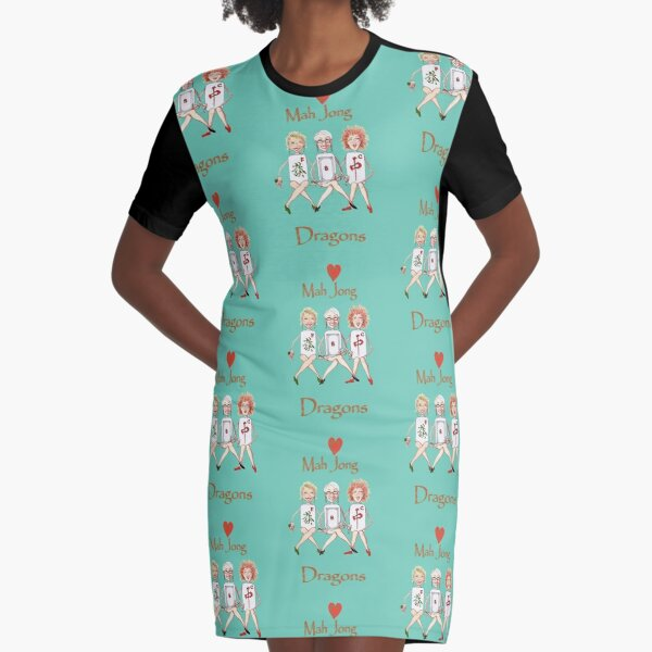 Mah Jong Dragons Graphic T-Shirt Dress