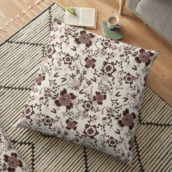 Rustic Blush Vintage Floral Hand-Drawn Print Floor Pillow