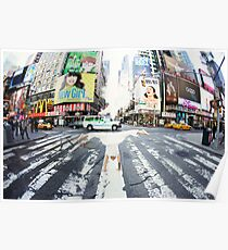 Yoga handstand at Times Square, Manhattan New York City Poster