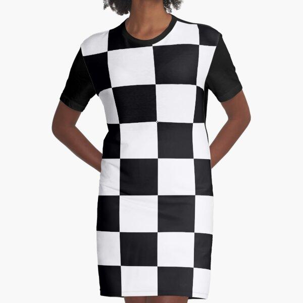 Ska Music Black and White Check Socks Graphic T-Shirt Dress
