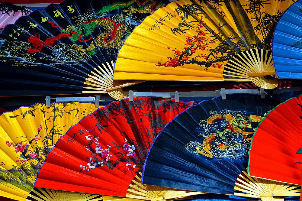 Colourful Fans at the popular Ladies Market, Hong Kong. by Ralph de Zilva
