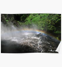 Bushkill waterfall with full spring water and rainbow  Poster