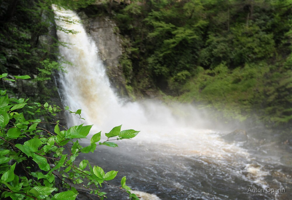 Bushkill waterfall with full spring water and rainbow at summer time by Anton Oparin