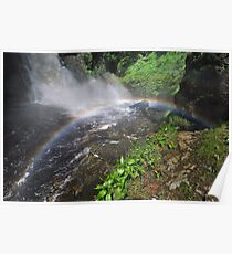 Bushkill waterfall with full spring water and rainbow at summer time Poster