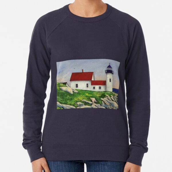 Maine Lighthouse Painting / Painting / Fine Art Lightweight Sweatshirt
