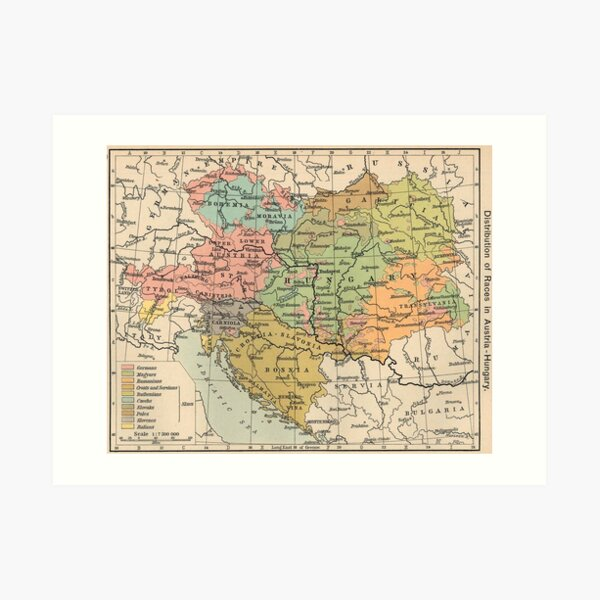 Vintage Map of Austria and Hungary (1911) Art Print