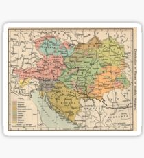Vintage Map of Austria and Hungary (1911) Sticker