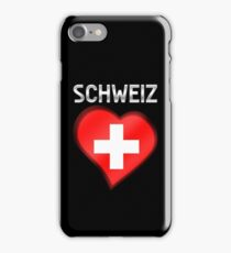 Schweiz - Swiss Flag Heart & Text - Metallic iPhone Case/Skin