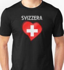 Svizzera - Swiss Flag Heart & Text - Metallic Unisex T-Shirt