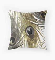 Gold and Silver Peacock Feathers Throw Pillow