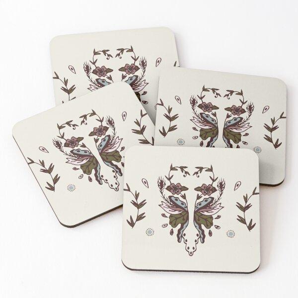 Rustic Blush Vintage Floral Hand-Drawn Print  Coasters (Set of 4)