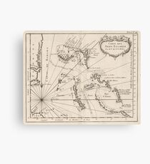 Vintage Map of The Bahamas (1764) Canvas Print