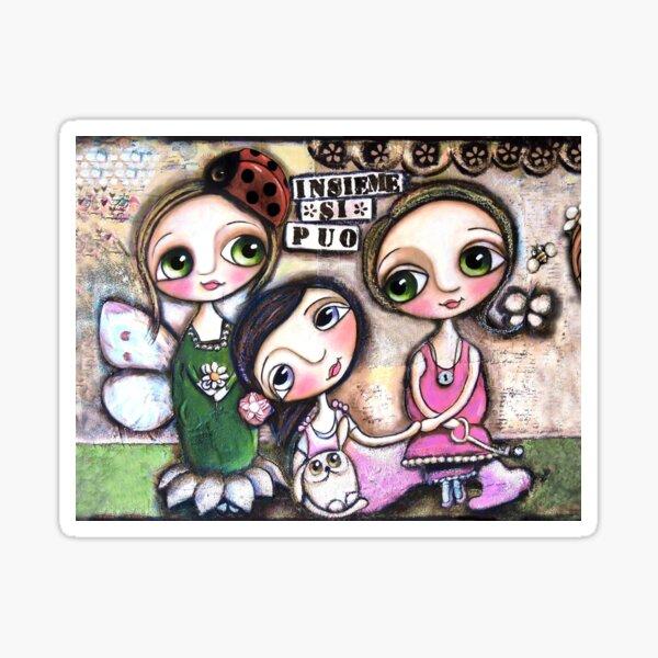 Friendship, three dolls in mixed media art by Margherita Arrighi Sticker