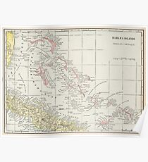 Vintage Map of The Bahamas (1901) Poster