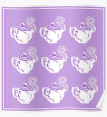 Teapots Purple and White Pattern Art Poster