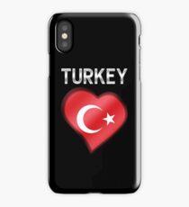 Turkey - Turkish Flag Heart & Text - Metallic iPhone Case