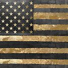 American Flag Gold and Black  by mindydidit