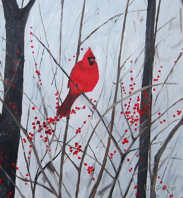 Cardinal amongst berries by BenPotter