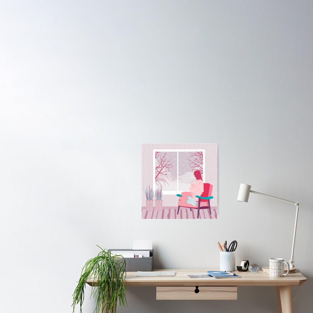 girl watching snow Poster
