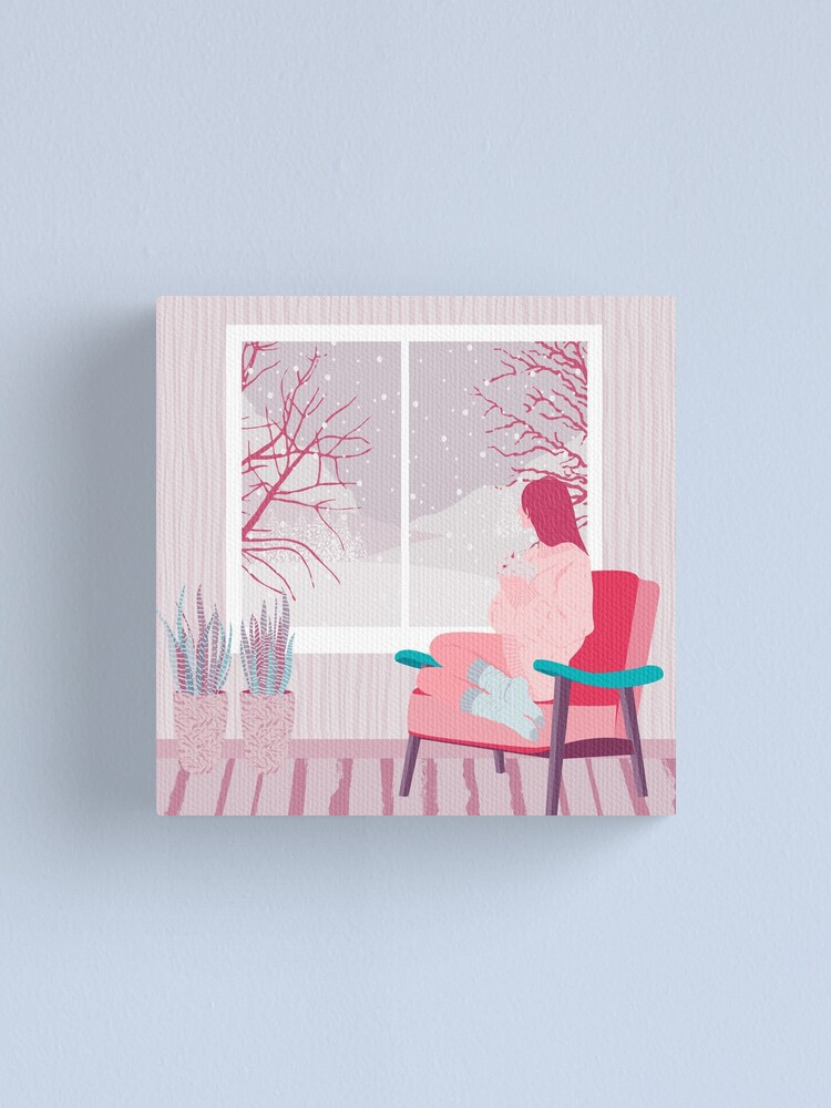 Alternate view of girl watching snow Canvas Print