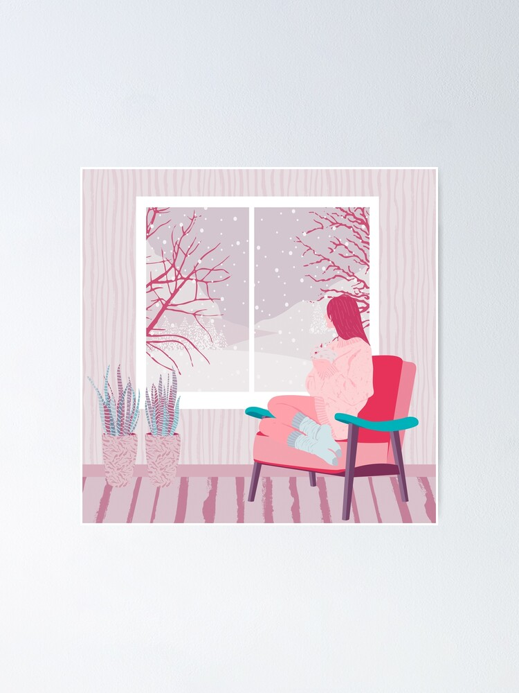 Alternate view of girl watching snow Poster