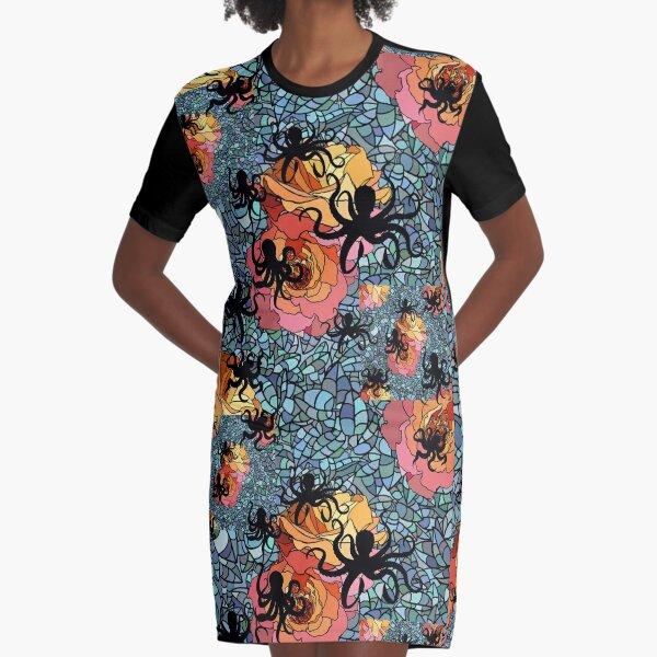Octopus Rose Garden Graphic T-Shirt Dress