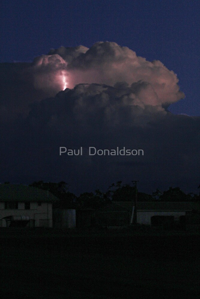 Storm with upper cloud lightning by Paul  Donaldson