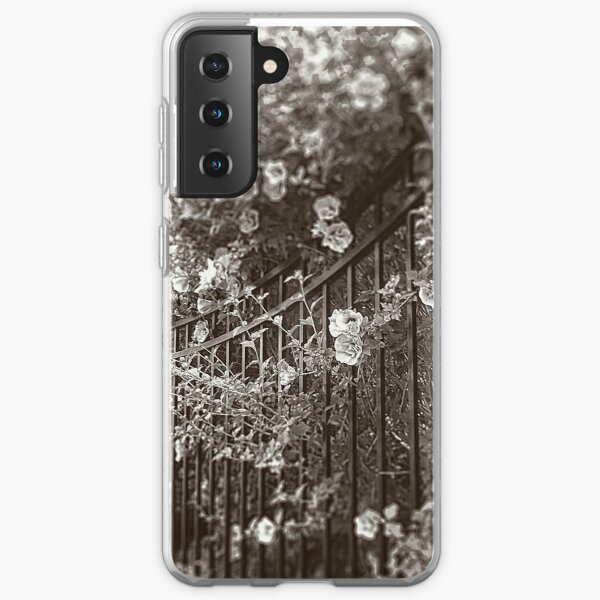 Wrought Iron Fence with Flowers, Sepia, Tilt-Shift Samsung Galaxy Soft Case