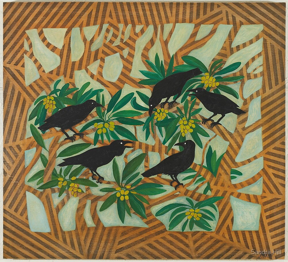 Wardang (crow) in the Loquat Tree by Sandra Hill