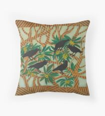 Wardang (crow) in the Loquat Tree Throw Pillow