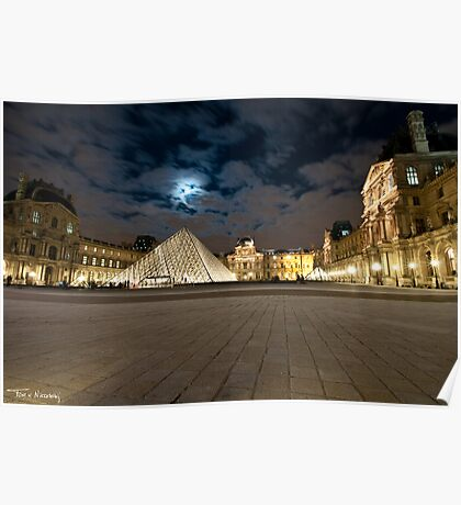 Night at the Paris Louvre Poster
