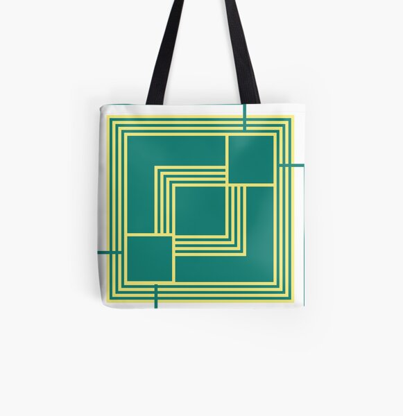 Geometric Pattern - yellow and green  All Over Print Tote Bag