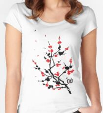 CHERRY BLOSSOMS RED Women's Fitted Scoop T-Shirt