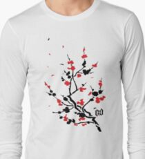 CHERRY BLOSSOMS RED Long Sleeve T-Shirt