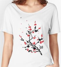 CHERRY BLOSSOMS RED Women's Relaxed Fit T-Shirt