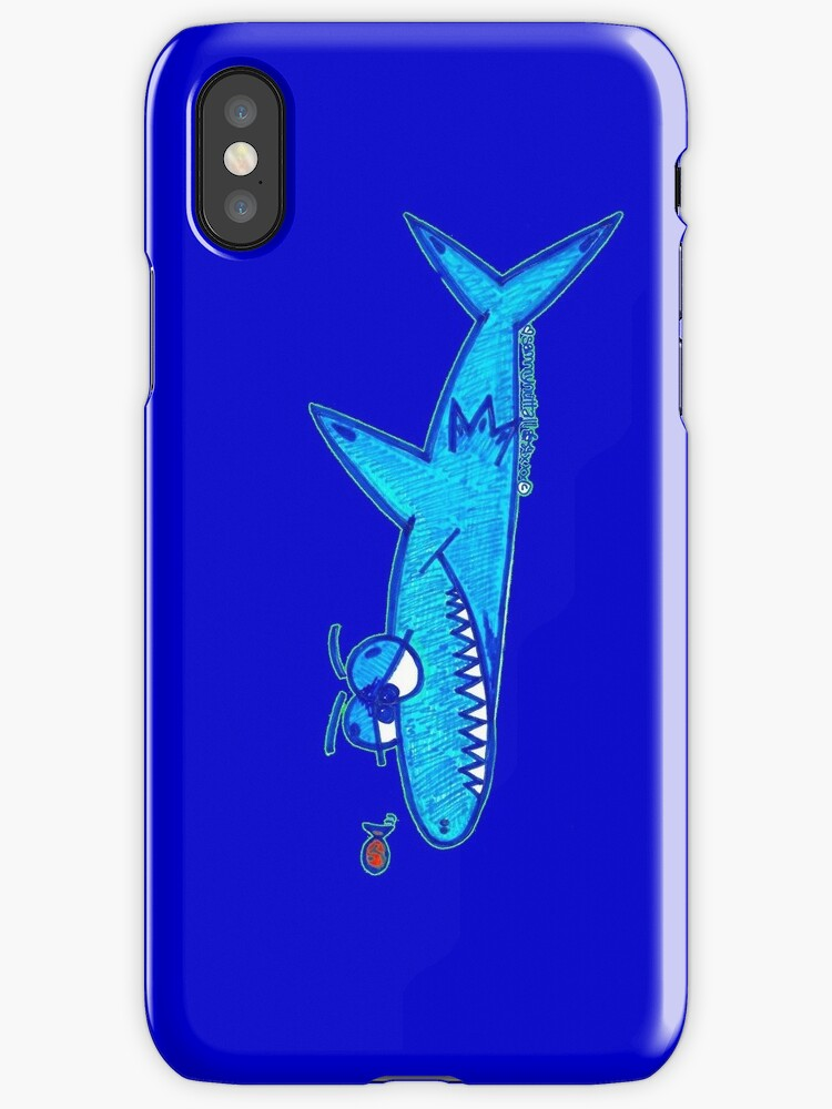 Sharky On Blue: iPhone Case by Sammy Nuttall