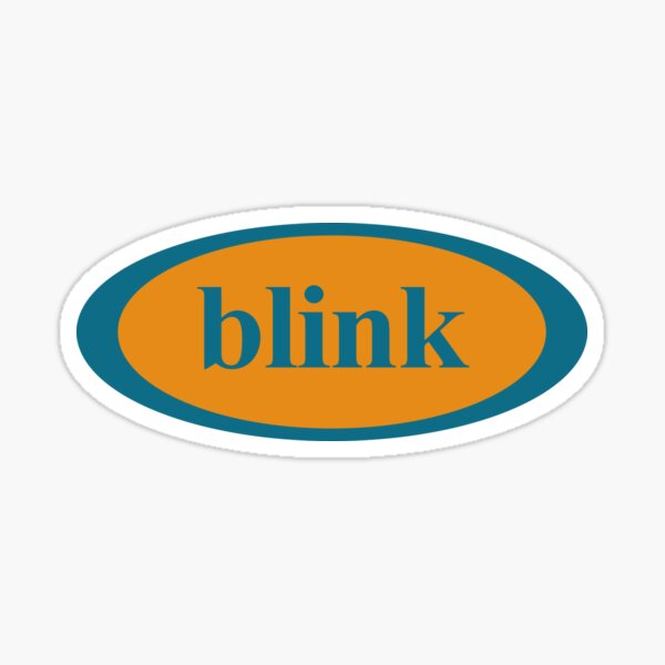 Vintage BLINK 182 (Pre 182) Ovales Logo-Design - Blau / Orange Sticker