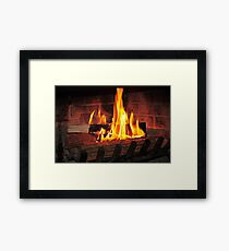 Burning fire at fireplace. Can be used as background. Gerahmtes Wandbild